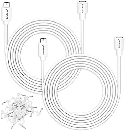 Cellularize [4 Pack] Micro USB Extension Cable (White, 3M/10FT) Male to Female Extender Power Cord Compatible with Zmodo Wireless Security Cameras, Arlo Pro (Cable Clips Included)