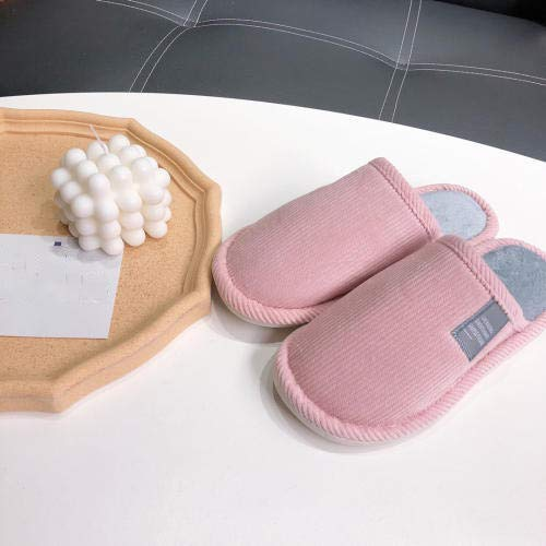 Zapatillas de casa de algodón orgánico,Otoño e invierno más pantuflas de algodón cálido de terciopelo,pantuflas antideslizantes para parejas-pink_36-37,Pantuflas Ultraligero cómodo y Antideslizante
