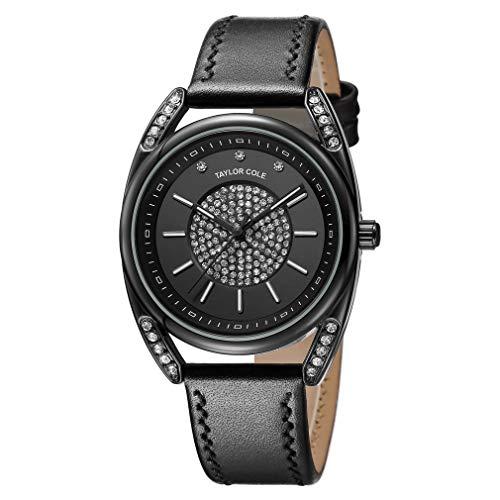 SZMH Stilvolle Damen-Armbanduhr mit Strasssteinen, echtes Lederband, japanisches Quarzuhrwerk, Kristall-Uhren für Taylor Cole Kollektion, schwarzes Leder