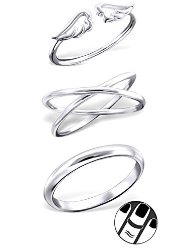 925 Sterling Silver set of 3 Above Knuckle Ring Mid Finger Top 267 201 203