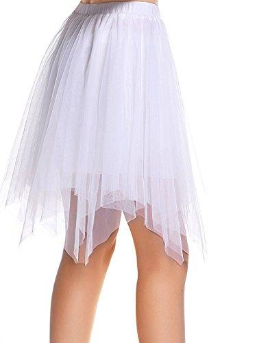 AMORETU Damen Knielange Asymmetrischer Gummibund Ausgestellter Zipfel Tüll Rock, Weiß, L/XL=DE 48-56