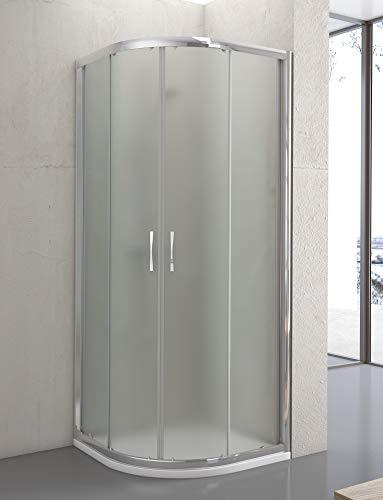 MaxLine Cristal de Seguridad de 6 mm Modelo BERNA Q3 2 Hojas Fijas y 1 Hoja Corredera Mampara de Ducha Angular