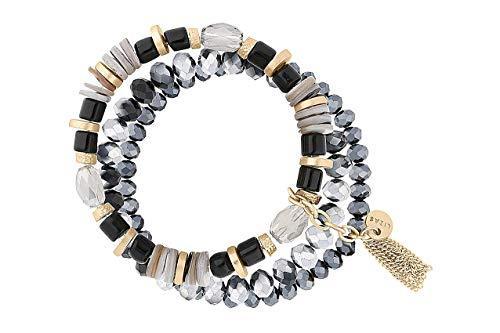 Lizas - Bracciale di perle nero, vari modelli e sintetico., colore: nero/grigio, tre file., cod. Lizasschwarz