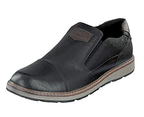 Relife Herren Schuhe Gr.47 sportliche Slipper Sneaker R3509 Black Extra Weite