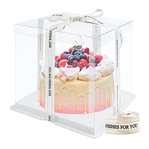 Caja de pastel transparente Cajas de regalo de plástico con tapas Caja de pastel de doble capa Cajas de presentación de plástico con base y cinta Caja de embalaje de panadería para postre 6 Inch