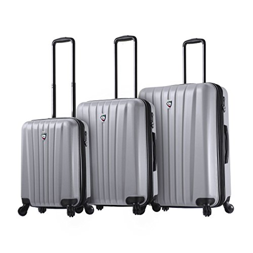 Great Features Of Mia Toro Italy Magari Hardside Spinner Luggage 3pc Set-Silver, One Size