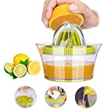 Citrus Lemon Orange Juicer, Manual Hand Squeezer with Built-in Measuring Cup and Grater 12OZ 4 in 1...