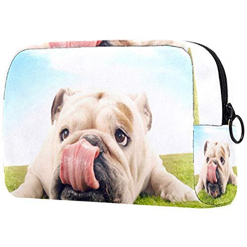 Kosmetiktasche Make-up Taschen für Frauen, Kleine Make-up Tasche Reisetaschen für Toilettenartikel - Netter Hund