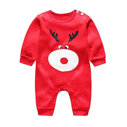 Infant Natale Pigiama Costume Babbo Natale manica lunga Pagliaccetto Tutine Neonato Completini e coordinati (alce, 0-3 Mesi)