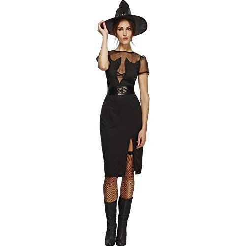 Smiffys Halloween Damen Kostüm sexy Hexe Hexenkostüm Kleid Hut Gr.M