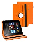 TGK 360 Degree Rotating Universal 3 Camera Hole Leather Stand Case Cover for Kindle Fire HD 7 Tablet 7 inch (Orange)