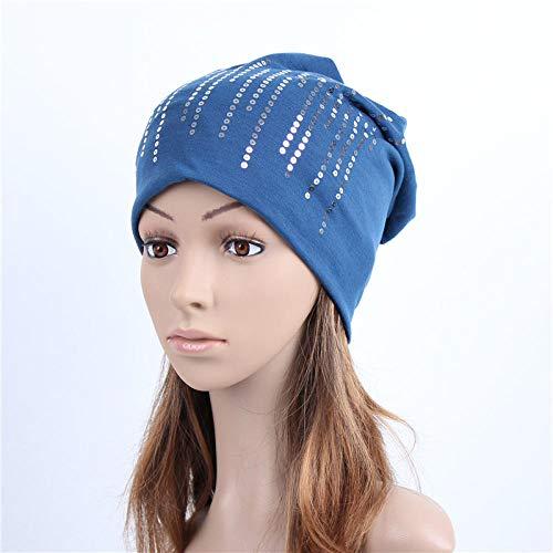 Gorro Beanie Sombrero Hat Gorro De Lentejuelas Plateadas Redondas para Mujer, Gorro Holgado De Algodón Negro De Primavera, Gorro para Mujer, Gorro Azul