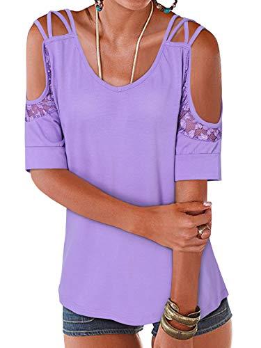 YOINS Off Shoulder koszulka damska elegancka seksowna bluzka bez ramion, jednokolorowa