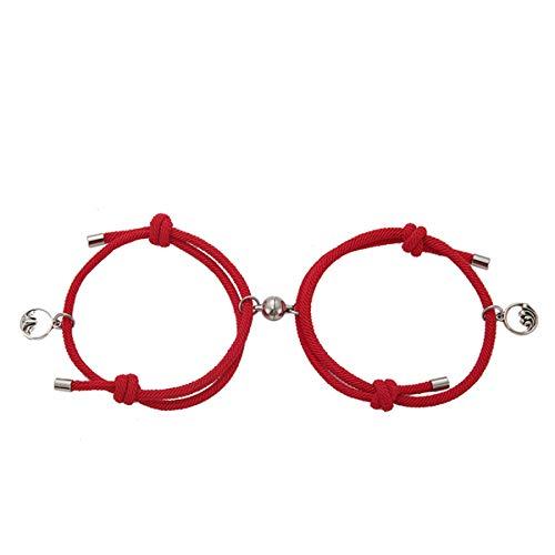 2Pcs Magnetic Couple Bracelet Set,Couples Bracelets Magnetic Mutual Attraction,adjustable long distance relationship,rope braided couple magnetic bracelet,Valentine's Day present (#3)