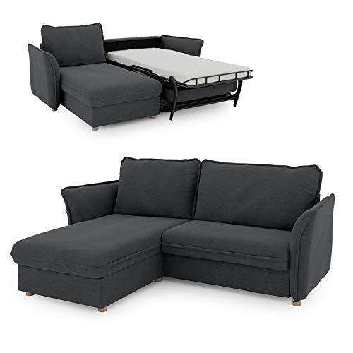 place to be. Sofá cama Insideout 85 con cama de día a la izquierda, con superficie de descanso de 85 x 200 cm, roble macizo, color gris oscuro