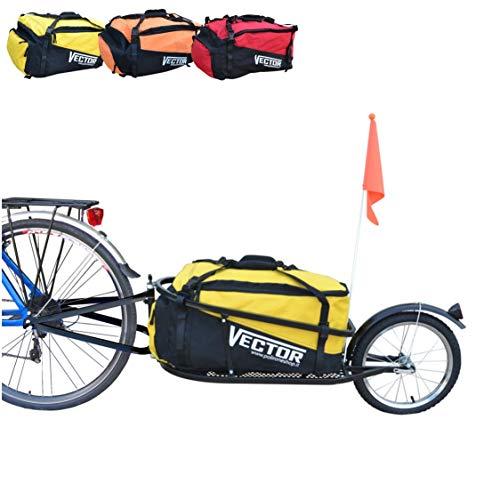 Polironeshop Vector fahrradanhänger lastenanhänger einrad anhänger gepäckanhänger mit Tasche (Gelb)