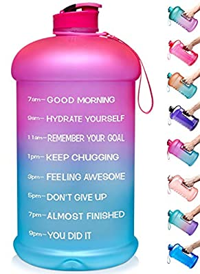 Venture Pal Large 128oz Leakproof BPA Free Fitness Sports Water Bottle with Motivational Time Marker to Ensure You Drink Enough Water Throughout The Day-1 Gallon-Pink/Green Gradient