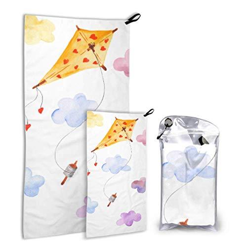 N\A Colorful Kite Flying In Sky 2 Pack Toallas de Microfibra de Playa para niñas Conjunto de Toallas de Secado rápido Secado rápido Lo Mejor para Viajes de Gimnasio Mochilero Yoga Fitnes