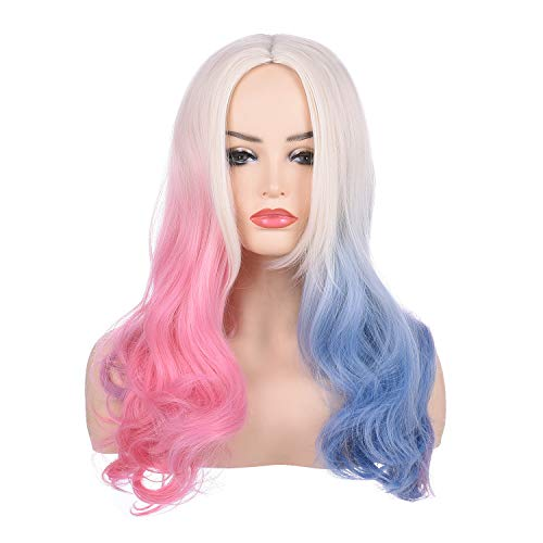 Morvally Long Wavy Blonde Blue Pink Ombre Wigs for Women Cosplay Halloween