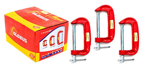 GLOBUS 419 Mini C OR G Clamp 3 INCH Set ( Pack Of 3, Red and Silver )