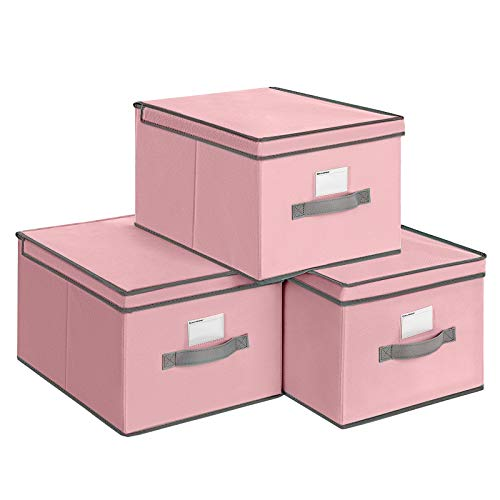 SONGMICS Fabric Storage Boxes with Lids, Set of 3 Foldable Cubes with Label Holders, Storage Bins Organizer, 15.7 x 11.8 x 9.8 Inches, Pink URLB40PK
