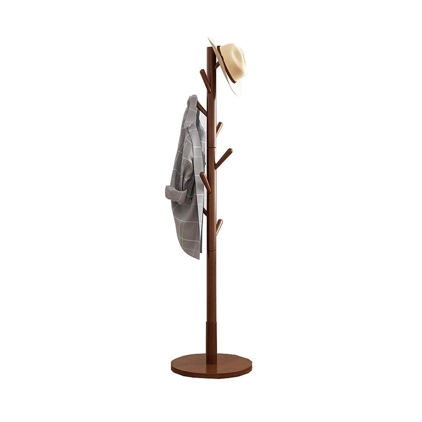 高齢者麻酔薬十分ではないコートラック NEVY コートはウッドツリー服ハンガー、床立ち帽子とコートコートラックラウンドシャーシと8つのフックスタンド、簡易インストールするには(3色) (Color : Brown)