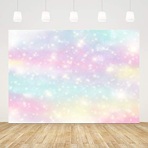 Glitter Rainbow Photo Backdrop Watercolor Newborn Photography Background 7x5ft Colorful 1st Birthday Backdrop Girl Party Decorations Baby Shower Supplies Cake Table Banner Bokeh Photo Booth Props