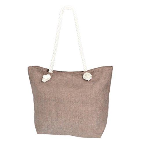 Strandtasche Handtasche Maritim in feiner Leinen-Optik braun mit 30cm Griff aus Tau Kordel natur mit Reißverschluß und Innentaschen - Tasche Typ335