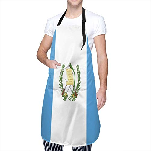 XJ-JX Wasserdichte Schürzen für Frauen Küchenschürzen mit Tasche Langlebige Flagge von Guatemala Damen Wasserdichte Schürze Anti-Öl