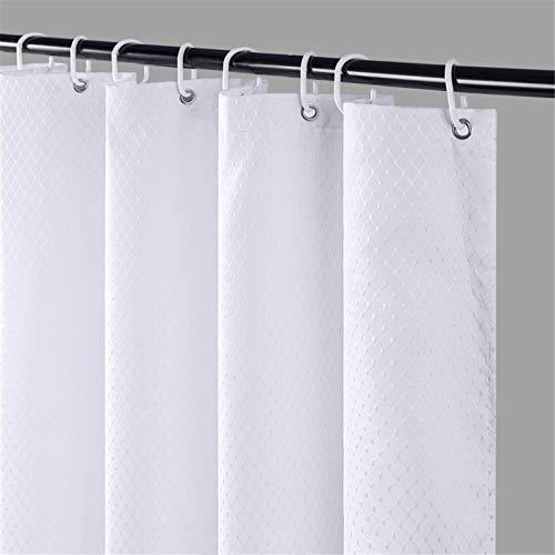 Furlinic Schmaler Duschvorhang für Eck Dusche und Kleine Badewanne Badvorhang Textil aus Polyester Stoff Schimmelresistent Wasserabweisend Waschbar Weiß 90x180 Waffeln mit 6 Duschringen.