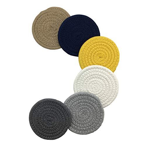Sottobicchieri Bevande Assorbenti Cotone Intrecciata Protezione Tavolo Multicolor Moderni Elegante Set di 6