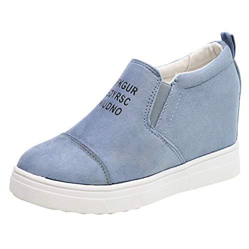 Minetom Damen Mädchen Mokassins Plateau Wildleder Briefe Drucken Loafers Halbschuhe Sneaker mit Keilabsatz Casual Bequem Schuhe Blau EU 38