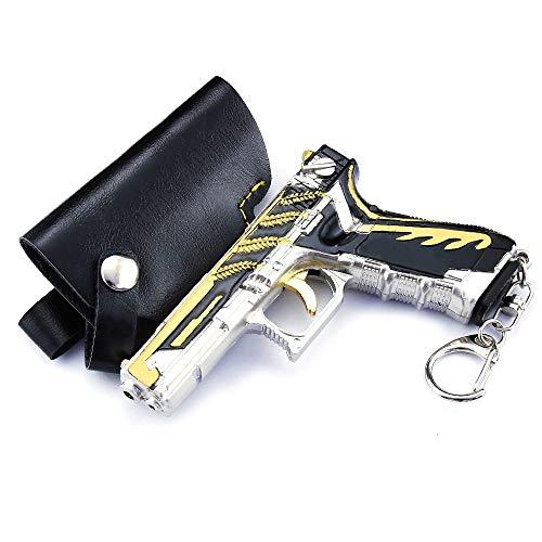 QISUO P18c - Llavero con forma de pistola para videojuegos con periféricos y figura de gran regalo para niños, diseño de armas de metal