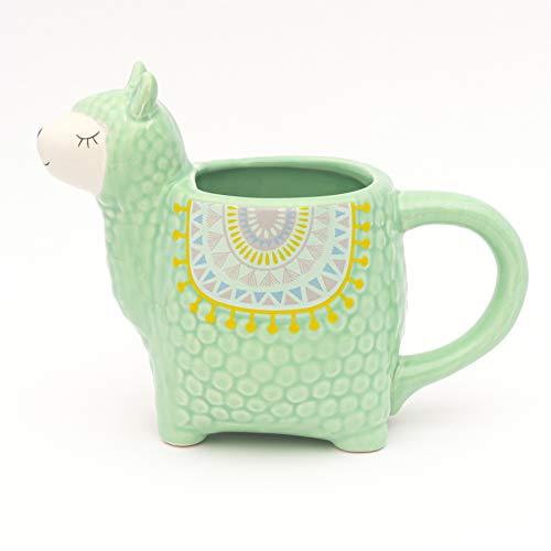 Fluffy Dreams – Die große Lama-Alpaka 3D Tasse Becher Mug aus Keramik in Mint grün| handbemalter Trendartikel für Lama-Alpaka Liebhaber | fasst ca.350 ml Kaffee, Tee, Kakao in Geschenkverpackung