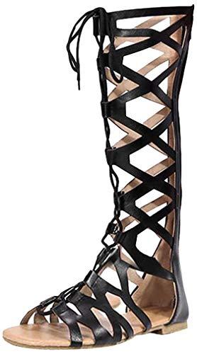Mujer Sandalias Romano Gladiador Rodilla Alto Plano Botas Altas Cruzar Strappy Punta Abierta Cuero Sandalias Playa Verano Zapatos Marrón/Negro 35-43
