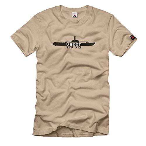 U Boot Typ XXI U Boot Submarine Marine Deutschland Waffe Atlantik England Usa Amerika Hafen Unterseeboot - T Shirt #454, Größe:XXL, Farbe:Sand
