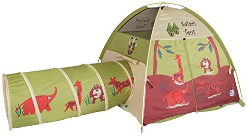 Pacific Play Tents 20435 Kids Safari Fun Dome Tent Crawl Tunnel Combo Indoor / Outdoor Fun,Multicolor