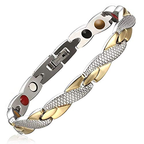Hottime Fashion Animal Twisted Bracelet Stainless Steel Bracelet for Women Girls Element Best Friend Friendship Adjustable Bracelet(Gold and Sliver Bracelet)