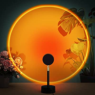 Sunset Lamp Projection, Sunset Rainbow Projector LED Light with 10W Adapter and 180 Degree Rotation Romantic Visual Night Light for Selfie, Tiktok, Home, Party, Living Room, Bedroom Decor, Sunset Red