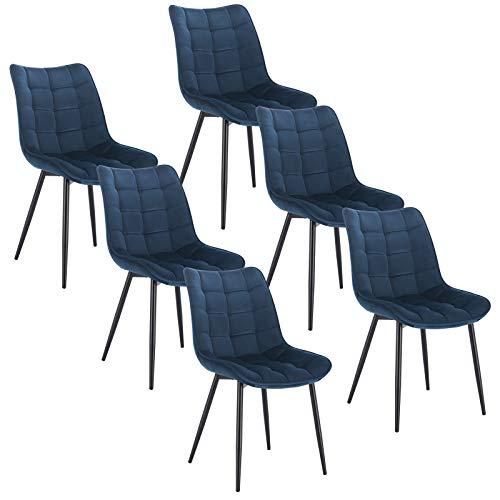 WOLTU Pack de 6 Sillas de Comedor Asiento de Terciopelo Silla Diseño Silla Tapizada Estructura Met�