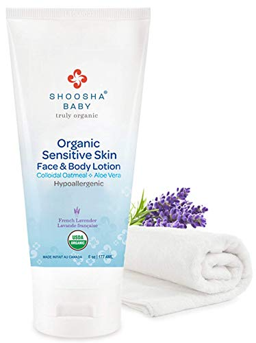 SHOOSHA Baby Lotion, 6 oz Organic Lotion w/Bonus Washcloth, Natural Baby Body Lotion, Lavender Lotion, Baby Cream for Sensitive Skin, After Bath Baby Moisturizer, Organic Baby Skin Care