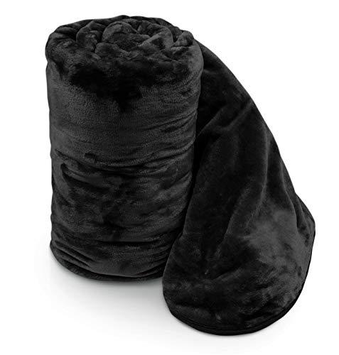 Ashley Mills Soft Faux Velvet Fur Mink Super Soft Throw Over Sofa Bed Blanket Large Double King (Black, 150 x 200 cm)