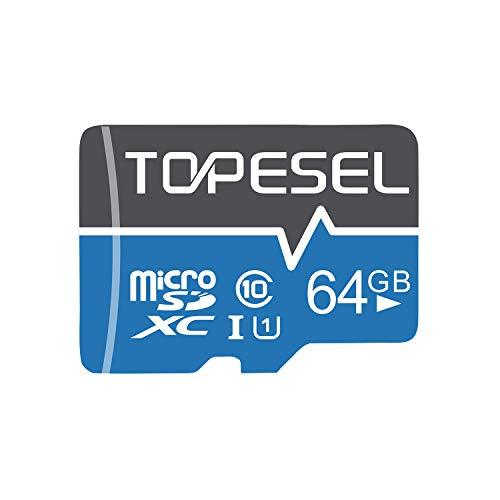 Micro SD Karte 64GB, TOPESEL SD-Karte MicroSD Speicherkarte SDHC High Speed bis zu 80 MB/s Micro SD Memory Card C10, U1 Mini TF Karte für Handy Samsung Huawei, Blau