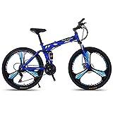 MYMGG 26 Pulgadas Bicicleta De Montaña para Adultos Bicicletas Plegables para Hombres Y Señora Doble Freno Disco, Full Suspension,Azul