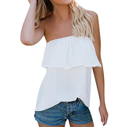 ESAILQ Damen T-Shirts Damen Sommer Uni Basic Kurzarm Tops Oberteil Leichtes mit Schnürung (S,Weiß)