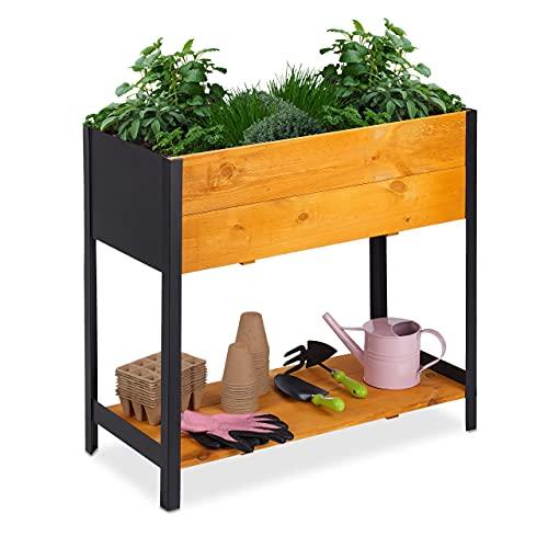 Relaxdays Hochbeet, Pflanzbeet aus Holz & Metall, HBT 72 x 78 x 36 cm, Balkonbeet mit Ablage & Vlies, Hellbraun/schwarz, 10036903