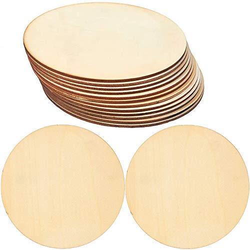 Holzkreise für Bastelarbeiten, 15 Stück, unlackiert, runde Scheiben aus Holz, 15 cm im Durchmesser