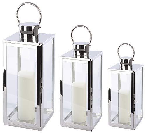 Bingo-Shop Laterne 3er Set XXL Gartenlaterne Metall Windlicht Laternen Kerzenhalter Set Kerzenleuchter F38