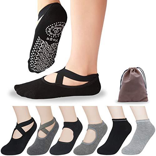 Koccido 6 Pairs Non Slip Yoga Socks for Women,Anti-Skid Socks for Pilates, Barre,Dance,Yoga Socks with Grips Ballet socks One Size