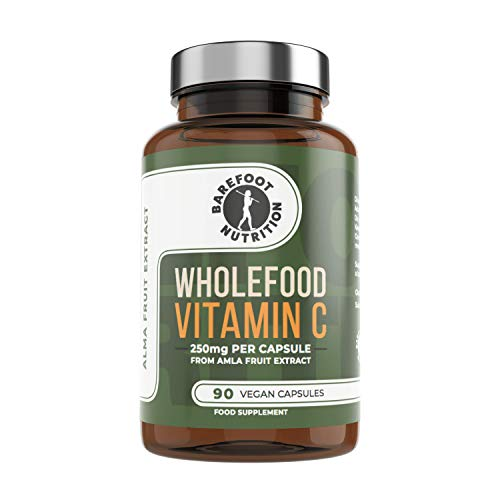 Barefoot Nutrition Whole Food Vitamin C, 250mg per Capsule, 90 x One a Day, Immune Support, 100% Natural Fermented (Pullulan) Capsule, No Artificial Additives Whatsoever, Vegan & Paleo Friendly